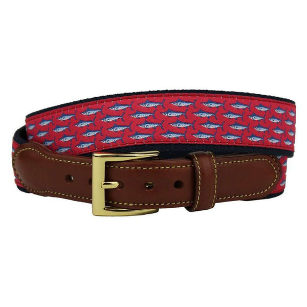 Marlin Brando Leather Tab Belt in Coral Red by Country Club Prep