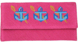 Clutches - Anchors Needlepoint Clutch In Pink By York Designs