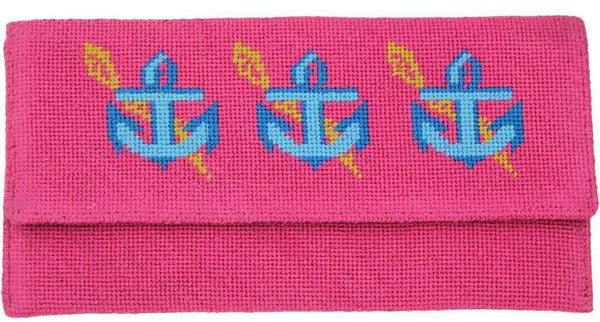 Anchors Needlepoint Clutch in Pink by York Designs - Country Club Prep