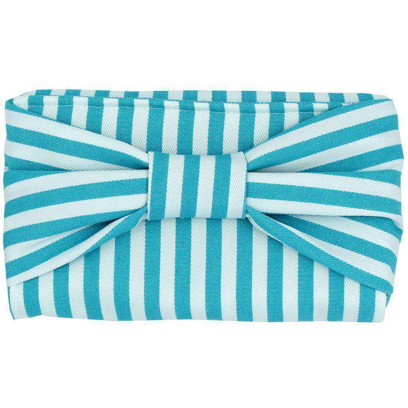 Clutches - Canvas Bow Clutch With Blue Stripe By Just Madras