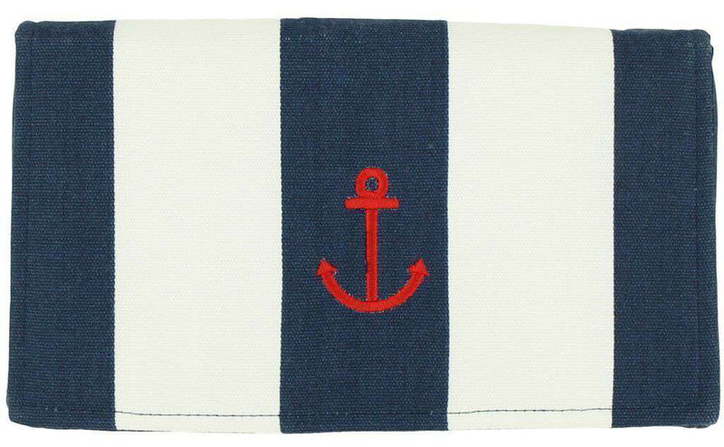 Clutches - Canvas Knot Clutch With Red Anchor In Navy And White By Just Madras - FINAL SALE