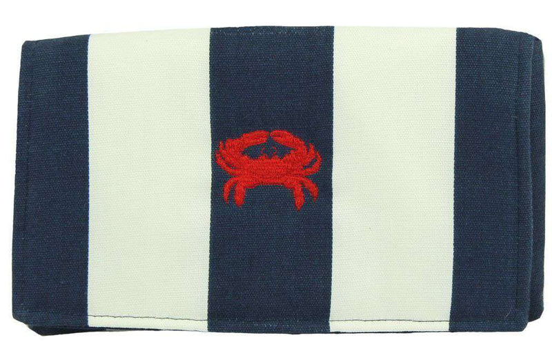 Clutches - Canvas Knot Clutch With Red Crab In Navy And White By Just Madras