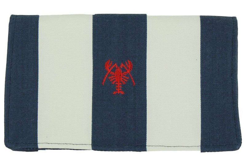 Clutches - Canvas Knot Clutch With Red Lobster In Navy And White By Just Madras