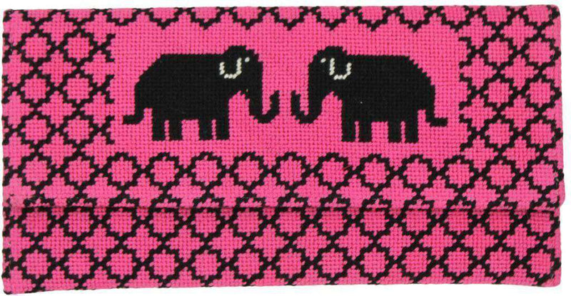 Elephant Needlepoint Clutch in Pink by York Designs