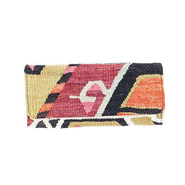 Kilim Clutch Purse in Shift Red & Tan by Res Ipsa