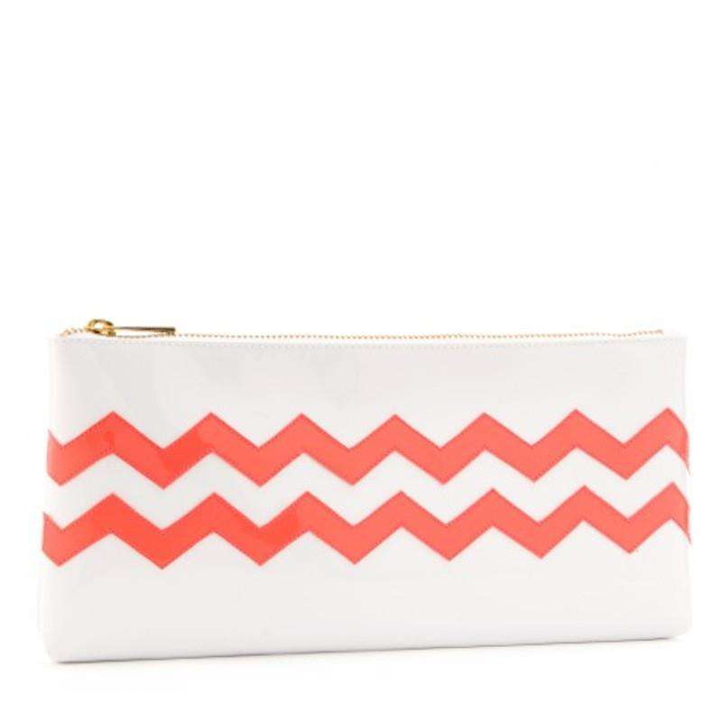 Clutches - Manning Clutch In White With Watermelon Chevron By Lolo - FINAL SALE