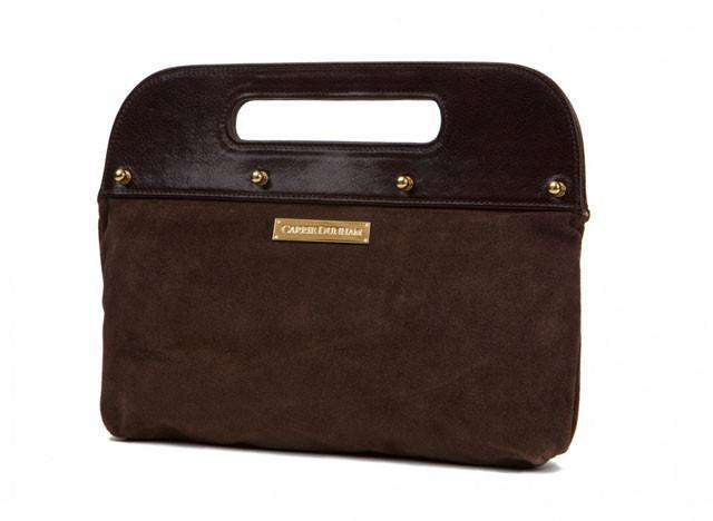 The Dunham Clutch in Chocolate Brown with Brown Suede by Carrie Dunham