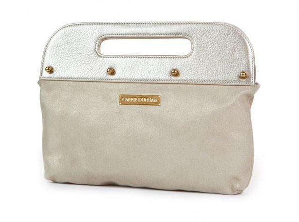 The Dunham Clutch in Metallic Gold with Gold Suede by Carrie Dunham