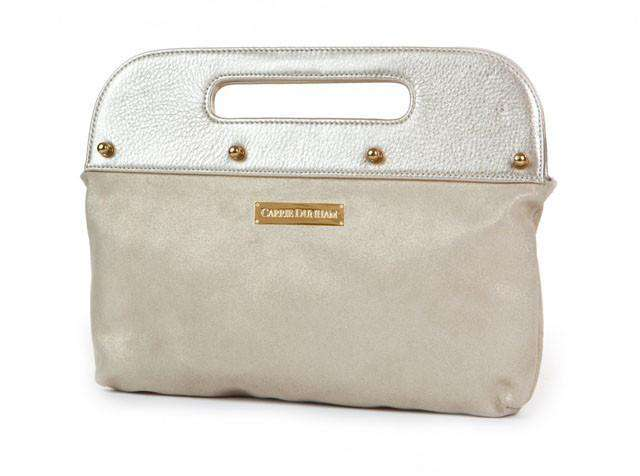 Clutches - The Dunham Clutch In Metallic Gold With Gold Suede By Carrie Dunham