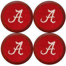 Coasters - Alabama Needlepoint Coasters In Crimson By Smathers & Branson