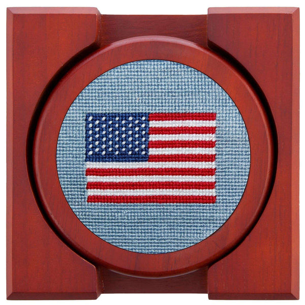 Coasters - American Flag Needlepoint Coasters In Antique Blue By Smathers & Branson