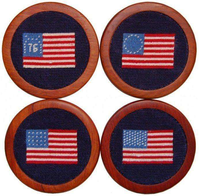 Coasters - American Flag Needlepoint Coasters In Navy By Smathers & Branson