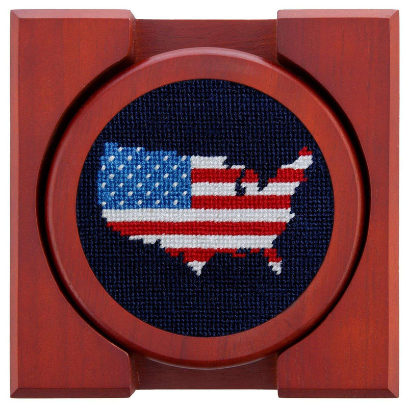 Coasters - Americana Needlepoint Coasters In Navy By Smathers & Branson