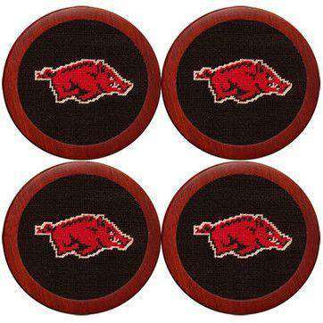 Coasters - Arkansas Needlepoint Coasters In Black By Smathers & Branson