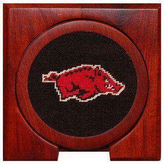 Arkansas Needlepoint Coasters in Black by Smathers & Branson