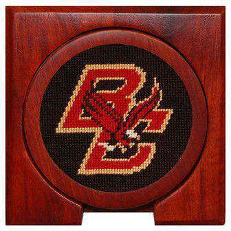 Boston College Needlepoint Coasters in Black by Smathers & Branson
