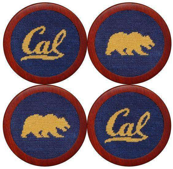Coasters - Cal - Berkeley Needlepoint Coasters In Navy By Smathers & Branson