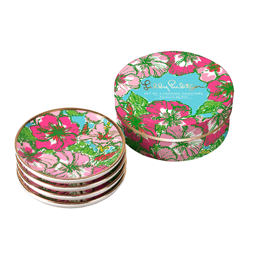Coasters - Ceramic Coaster Set In Big Flirt By Lilly Pulitzer