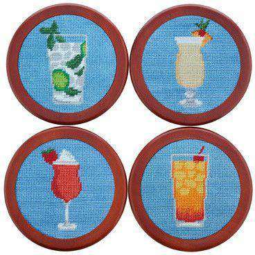 Coasters - Cocktails Needlepoint Coasters In Light Blue By Smathers & Branson