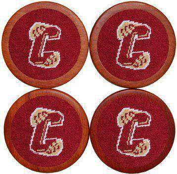 Coasters - College Of Charleston Needlepoint Coasters In Red By Smathers & Branson