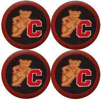 Cornell University Needlepoint Coasters in Black by Smathers & Branson