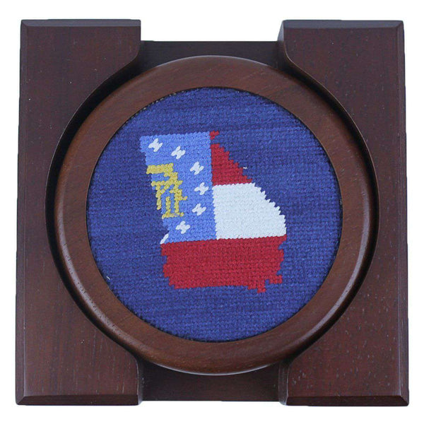 Custom Georgia State Flag Needlepoint Coasters in Navy by Smathers & Branson