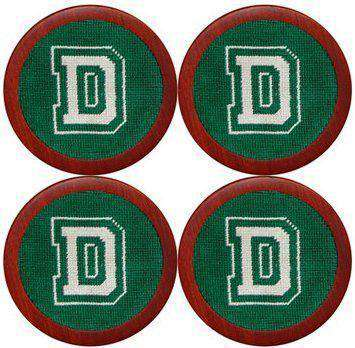 Dartmouth College Needlepoint Coasters in Green by Smathers & Branson