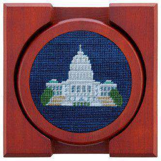 DC Monuments Needlepoint Coasters in Classic Navy by Smathers & Branson