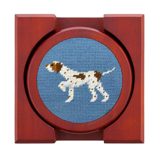 Dogs on Point Needlepoint Coasters in Steel Blue by Smathers & Branson