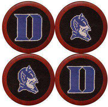 Duke University Needlepoint Coasters in Black and Blue by Smathers & Branson