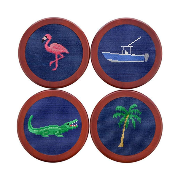 Coasters - Florida Life Needlepoint Coasters In Classic Navy By Smathers & Branson