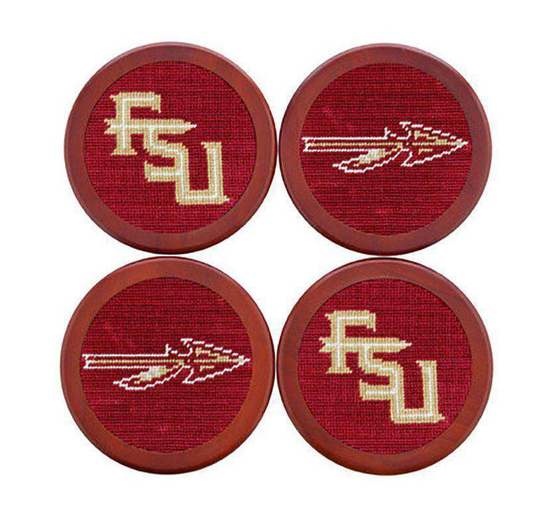 Coasters - Florida State Needlepoint Coaster Set In Garnet By Smathers & Branson