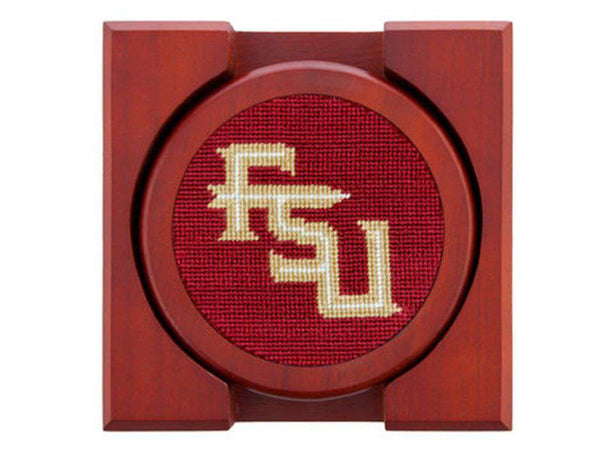 Florida State Needlepoint Coaster Set in Garnet by Smathers & Branson
