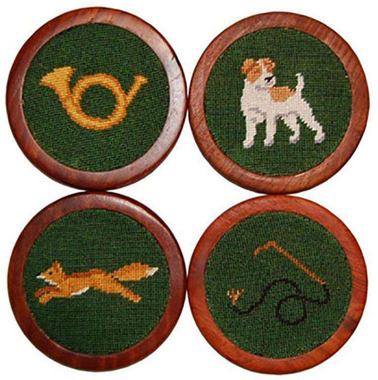 Coasters - Fox Hunt Needlepoint Coasters In Green By Smathers & Branson