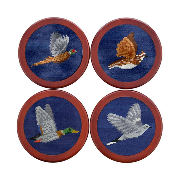 Game Birds Needlepoint Coasters in Classic Navy by Smathers & Branson
