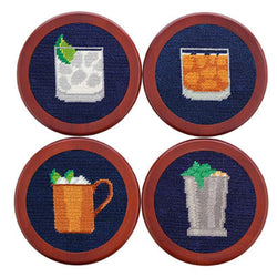 Coasters - Gentlemen's Drinks Needlepoint Coasters In Dark Navy By Smathers & Branson