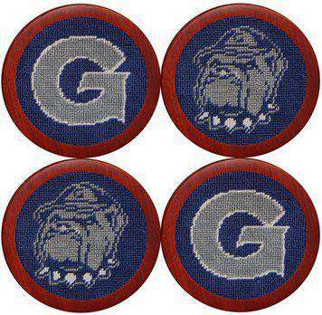 Georgetown University Needlepoint Coasters in Blue by Smathers & Branson