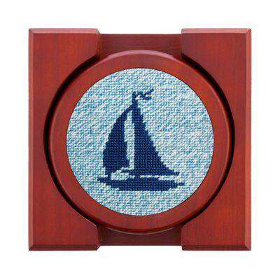 Coasters - Heathered Sailboat Needlepoint Coasters By Smathers & Branson
