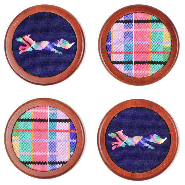 Limited Edition Needlepoint Longshanks Madras Coasters by Smathers & Branson