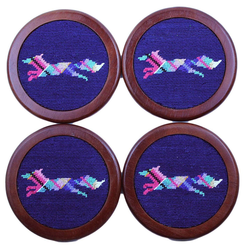 Coasters - Longshanks Needlepoint Coasters In Navy By Smathers & Branson