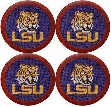 Coasters - Louisiana State University Needlepoint Coasters In Purple By Smathers & Branson