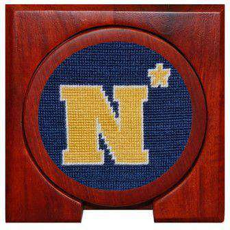 Naval Academy Needlepoint Coasters in Navy by Smathers & Branson