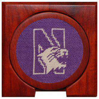 Northwestern Needlepoint Coasters in Purple by Smathers & Branson