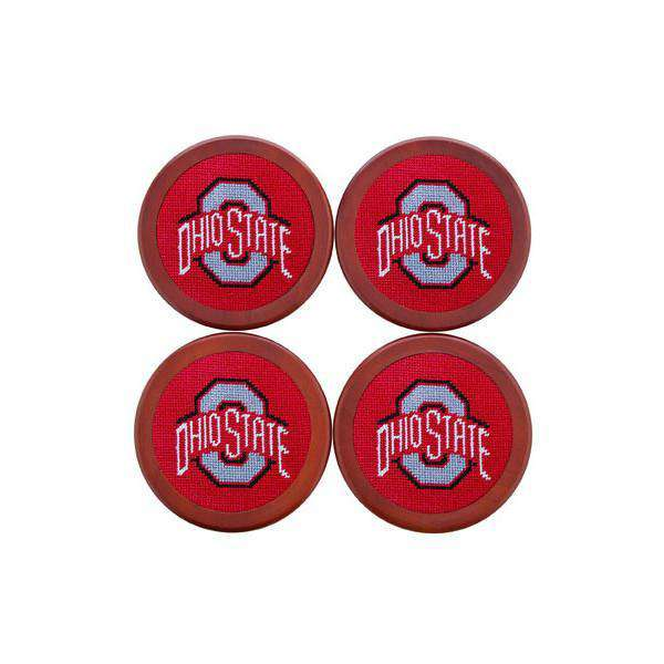 Ohio State University Needlepoint Coasters in Red by Smathers & Branson