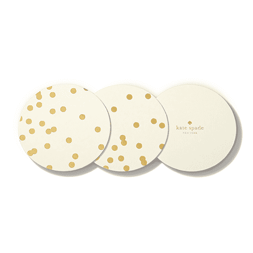 Coasters - Paper Coaster Set In Gold Dots By Kate Spade New York