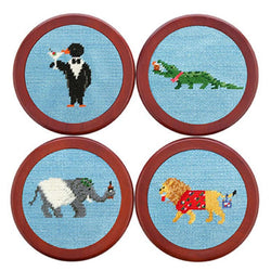 Coasters - Party Animals Needlepoint Coasters In Light Blue By Smathers & Branson