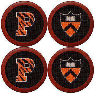Princeton University Needlepoint Coasters in Black by Smathers & Branson