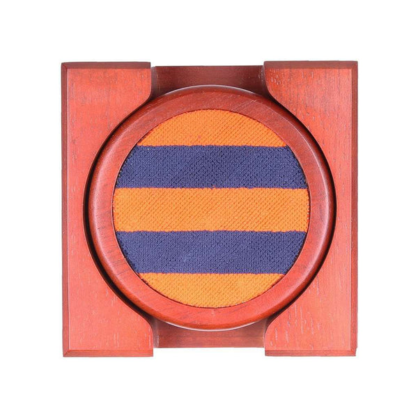 Repp Stripe Needlepoint Coasters in Orange and Dark Navy by Smathers & Branson