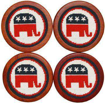 Coasters - Republican Needlepoint Coasters In White By Smathers & Branson