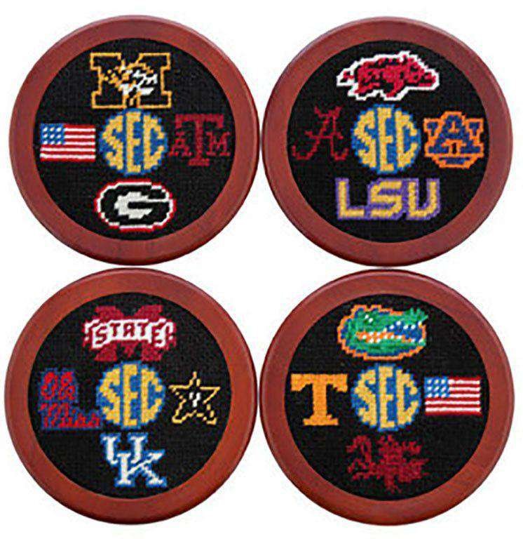 Coasters - SEC Needlepoint Coasters In Black By Smathers & Branson